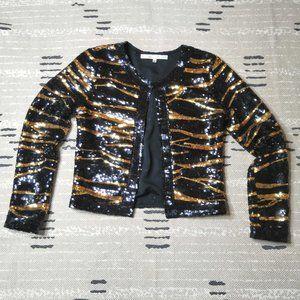 Lovers + Friends Sequin Jacket in Wildcat Small